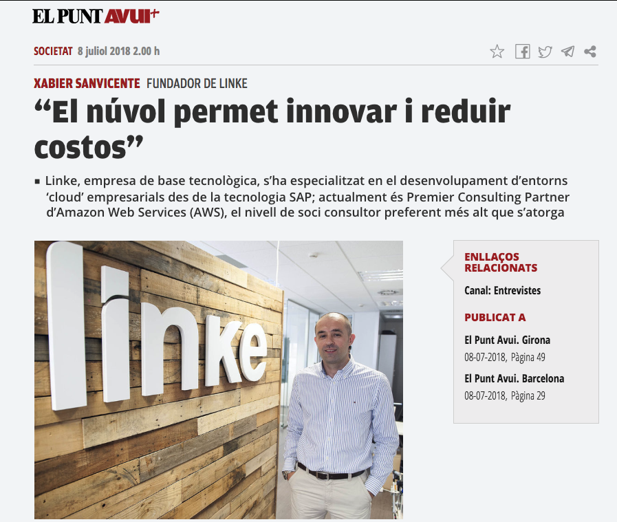 """Interview at """"El Punt Avui"""" around cloud as innovation tool to any business"""