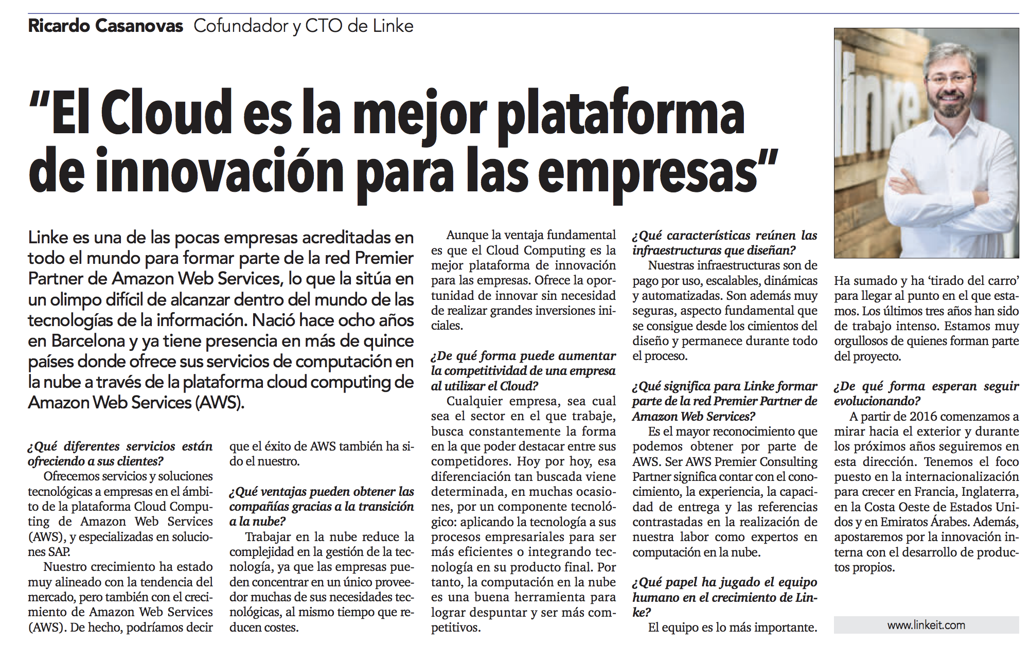 """Interview at """"El Economista"""" around cloud innovation business strategy"""